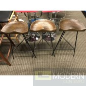 Mid Century Modern Industrial Rustic Wood Danish Style Counter Stools