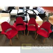 Mid Century Modern Set of 4 Saarinen Red Fabric Organic Dining Chair