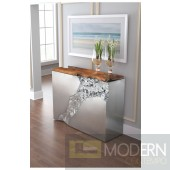 Luxe Stainless Steel and Natural Teak Console Table