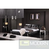 Yeolani Home Modern Black Crocodile leather Platform Bed with Crystal-Aspire