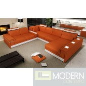 Modern Black leather Sofa sectional with light