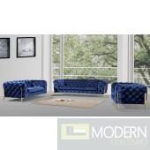 Eve Modern Dark Blue Velvet Sofa Set with Gold