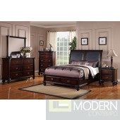 Cherry Queen Bed with Smooth Faux Leather Headboard. MCGSB9189 Free Inside Delivery for DMV metro area.