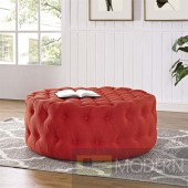 Amour Tufted fabric Ottoman Atomic Red