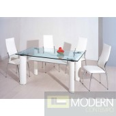 T318 Modern White Leather Glass Dining table