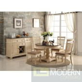 5Pc Cream and Saddle Pedestal Round Dinette Table