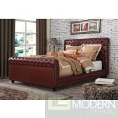 Contemporary Upholstered Bed in Burgundy Leatherette