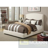 Contemporary Upholstered Bed in Linen White Leatherette