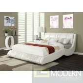 Contemporary PU White Queen Bed