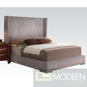 Modern Velvet Gray Queen Bed