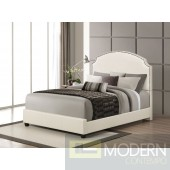 Contemporary Upholstered Bed in Cream Leatherette
