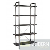 LAURENCE-5 BOOKCASE BLACK LEATHER