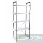 LAURENCE-5 BOOKCASE WHITE LEATHER