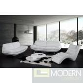 Divani Casa Boco - Modern White Leather Sofa Set