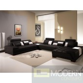 Divani Casa 5005B - Modern Bonded Leather Sectional Sofa w Ottoman and Glass End Table