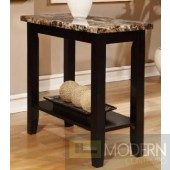 Modern Faux Marble Top Side Table in Black Finish MCGA6257, Free 24 to 72 hours inside delivery in DMV Area