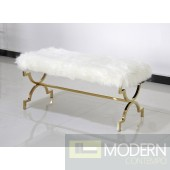 Aversa White and Gold Stainless Steel Bench