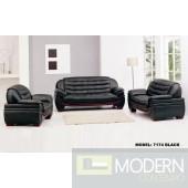 7174 - Contemporary Black Leather Sofa
