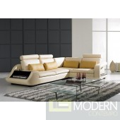 733 Modern Beige Leather Sectional Sofa
