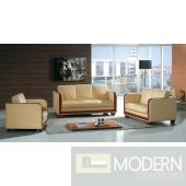 Divani Casa Milan Modern Beige Leather Sofa Set