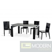 A&X Stratton Modern Black Extendable Dining Table