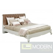 Art Deco Style Coffee Color Leather Bed