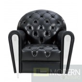 Art Deco Black Tufted Leather Leisure Chair