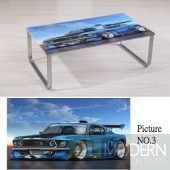 Modern Picture  Scenery Pattern Glass Top Metal Legs Coffee Table MCCT237-3