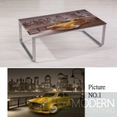 Modern Picture Scenery Pattern Glass Top Metal Legs Coffee Table MCCT237-1