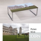 Modern Picture  Scenery Pattern Glass Top Metal Legs Coffee Table MCCT237-6