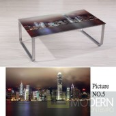 Modern Picture  Scenery Pattern Glass Top Metal Legs Coffee Table MCCT237-5