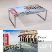 Modern Picture  Scenery Pattern Glass Top Metal Legs Coffee Table MCCT237-2