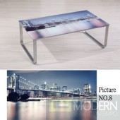 Modern Picture  Scenery Pattern Glass Top Metal Legs Coffee Table MCCT237-8