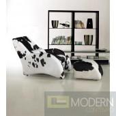 Divani Casa 920 - Modern California Cow Hide Chair and Ottoman