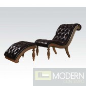 Keira Chair & Ottoman Brown Leather