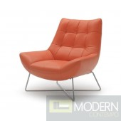 Divani Casa Istra - Modern Orange Leather Lounge Chair