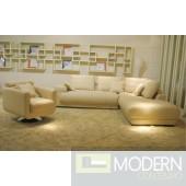 BO3871 Modern Beige Leather Sectional Sofa