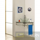 "Modern Glass 23"" Clear Simplicity Corner Vanity with Sink"