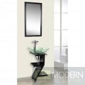 Black Wood Base Petite Powder Room Vanity with Mirror and Sink