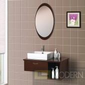 Wall-Mounted Modern Bathroom Vanity - w/Porcelain Sink and Mirror. Complete Bath Vanity Set.