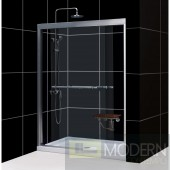 "Duet 56 to 60"" Frameless Bypass Sliding Shower Door, Clear 5/16"" Glass Door, Chrome Finish"