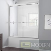 "Duet 56 to 59"" Frameless Bypass Sliding Tub Door, Clear 5/16"" Glass Door, Brushed Nickel Finish"