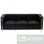 Charles Petite Black Le Corbusier Leather Sofa