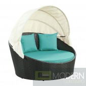 Siesta Canopy Outdoor Patio Daybed Turquoise