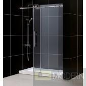 """Enigma-X Fully Frameless Sliding Shower Door and SlimLine 34"""" by 60"""" Single Threshold Shower Base Left Hand Drain"""