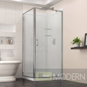 Flex 36-in. W x 36-in. D x 76-3/4-in. H Frameless Shower Enclosure, Backwall and Base Kit, Chrome Finish Hardware