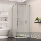 Flex 32-in. W x 32-in. D x 74-3/4-in. H Frameless Shower Enclosure and Base Kit, Chrome Finish Hardware