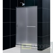 "Infinity-Z 44 to 48"" Frameless Sliding Shower Door, Frosted 1/4"" Glass Door, Brushed Nickel Finish"