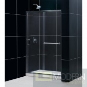 "Infinity-Z 44 to 48"" Frameless Sliding Shower Door, Clear 1/4"" Glass Door, Brushed Nickel Finish"