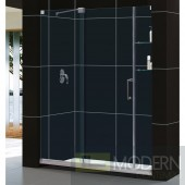 "Mirage 56 to 60"" Frameless Sliding Shower Door, Clear 3/8"" Glass Door, Chrome Finish"